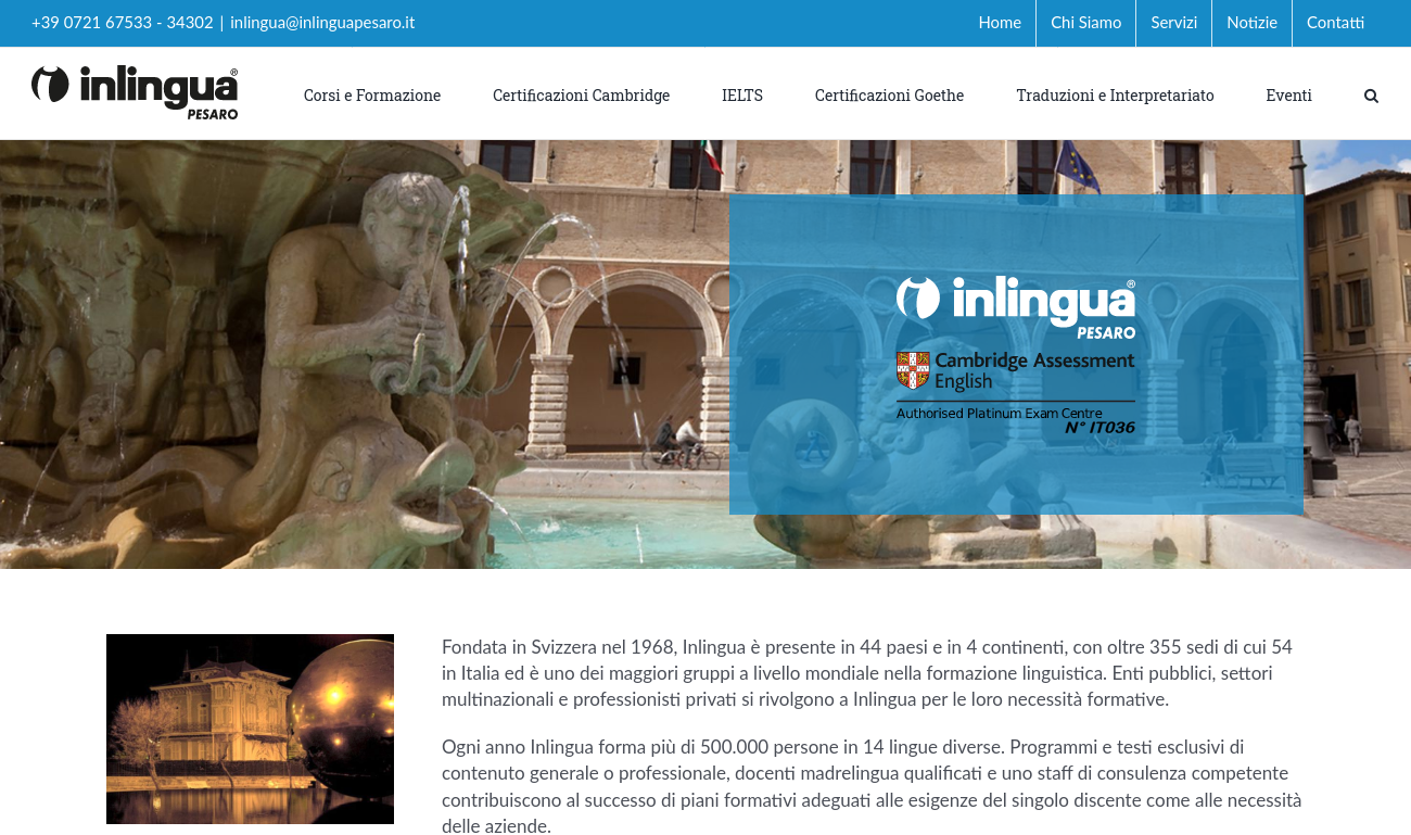 Screenshot inlinguapesaro.it
